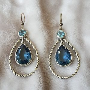 Brighton Sapphire & Zircon Crystal Dangle Earrings